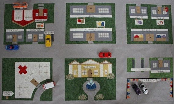 Toy Car Town Main Street - ePattern for a Toy Car Play Mat
