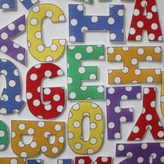 Leaning Spots Capital Letters - ePattern for Print and Play Felt Figures
