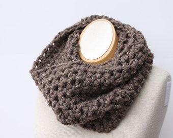 Infinity Scarf, Crochet Scarf, Chunky Scarf, Crochet Circle Scarf, Snood, Barley Brown Scarf