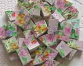 42 Piece Pretty Pink Chintz Mosaic Tiles Tesserae
