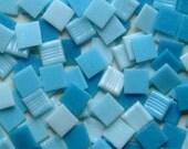 100 Tiles Four Shades Aqua Blues 3/4 inch Vitreous Glass Mosaic Tiles