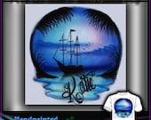 AIRBRUSH Sail Boat Sunset Blue Tshirt Design