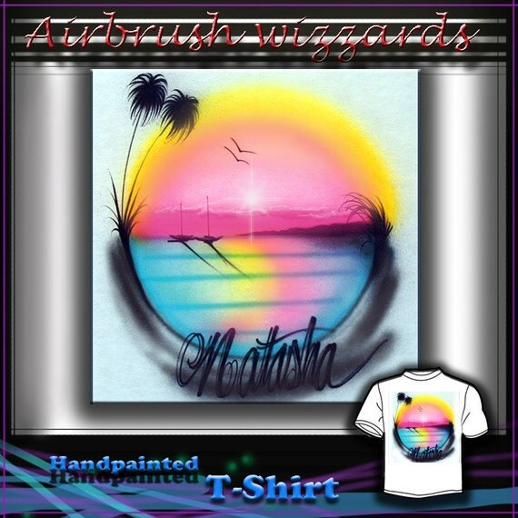 Items Similar To Airbrush T Shirt Palm Tree Hot Pink