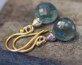 Dainty Moss Aquamarine Drop Earrings in 14K Gold Fill, Simple Dangle Earrings