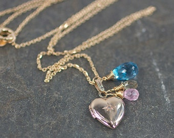 Diamond Heart Locket in Solid 14k Gold with Gemstones
