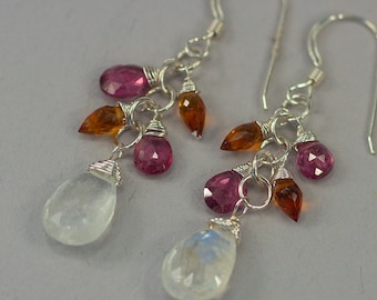 Moonstone Citrine Rhodolite Dangle Earrings