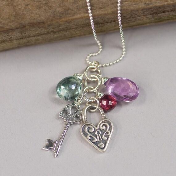 Key To My Heart  - pink amethyst, alexandrite quartz, garnet necklace