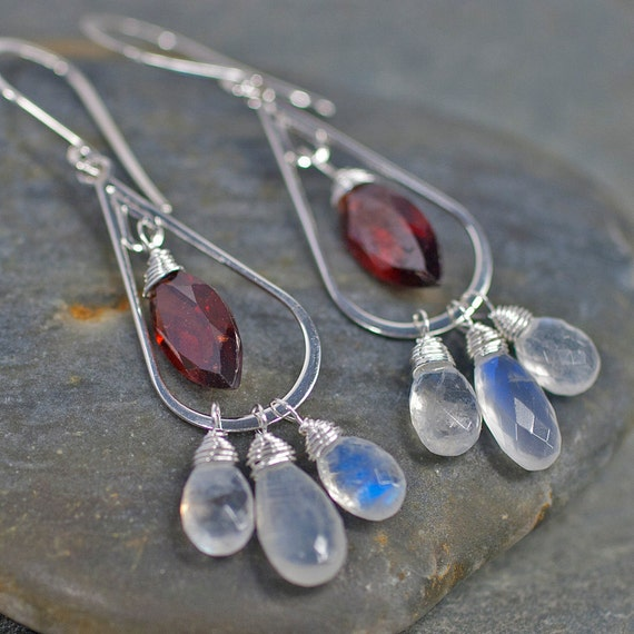 Red Garnet and Rainbow Moonstone Chandelier Earrings in Sterling Silver