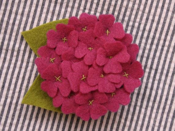 Pink Hydrangea Felt Dog Collar Accessory
