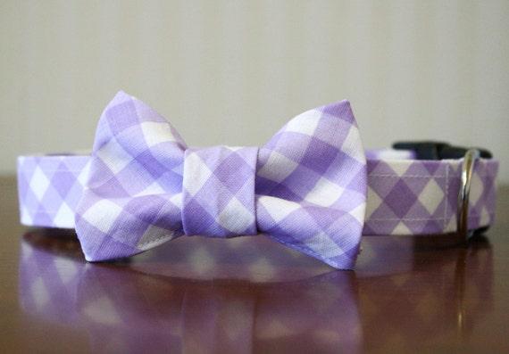 Bow Tie Dog Collar - Lavender Gingham