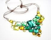 Bold Statement Bib Necklace, Ready to Ship, Autumn Fashion Accessory, Green and Yellow Rhinestones