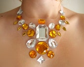 Elegant Goddess Mesh Illusion Statement Necklace, Golden Yellow and Metallic Clear Rhinestones