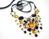Gleaming Twilight Black and Golden Yellow Floating Rhinestone Statement Necklace, Sophisticated Deco Glamour