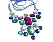 Purple and Green Floating Rhinestone Statement Necklace, Colorful Illusion, Dramatic Fashion
