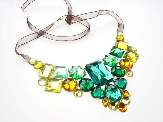 Bold Statement Bib Necklace, Ready to Ship, Autumn Fashion Accessory, Green and Yellow Rhinestones