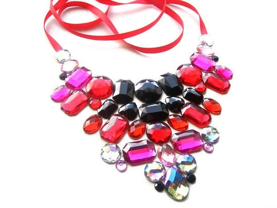 Chic Burlesque Inspired Floating Rhinestone Bib Necklace with Red, Pink, Black and Clear Rhinestones, Romantic Fashion Jewellery