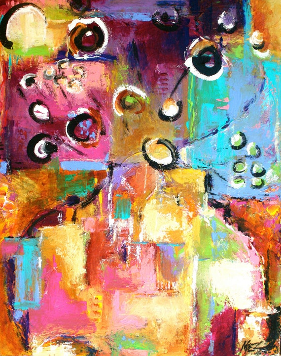 Contemporary Floral Abstract Painting....RESERVED for Debra