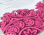 Ornamental Lace Wedding Invitation in Pink