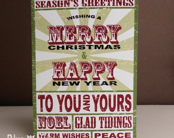Vintage Rock Poster Christmas Card, You Print