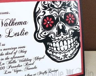 Tattoo Style Sugar Skull Alternative Style Invitation
