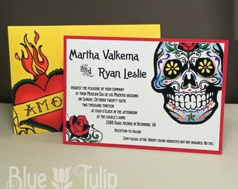 Day of the Dead Sugar Skull Colorful Jacket Wedding Invitation