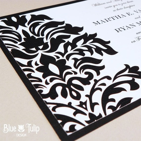 Modern Damask Black and White Wedding Invitation