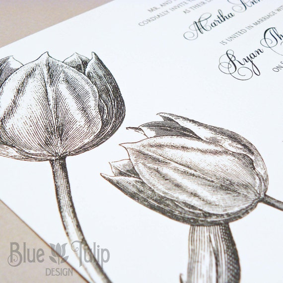 Engraved Tulip Ivory and Grey Wedding Invitations