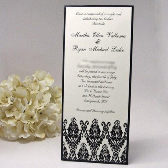 Black And Cream Damask Tea Length Wedding Invitation