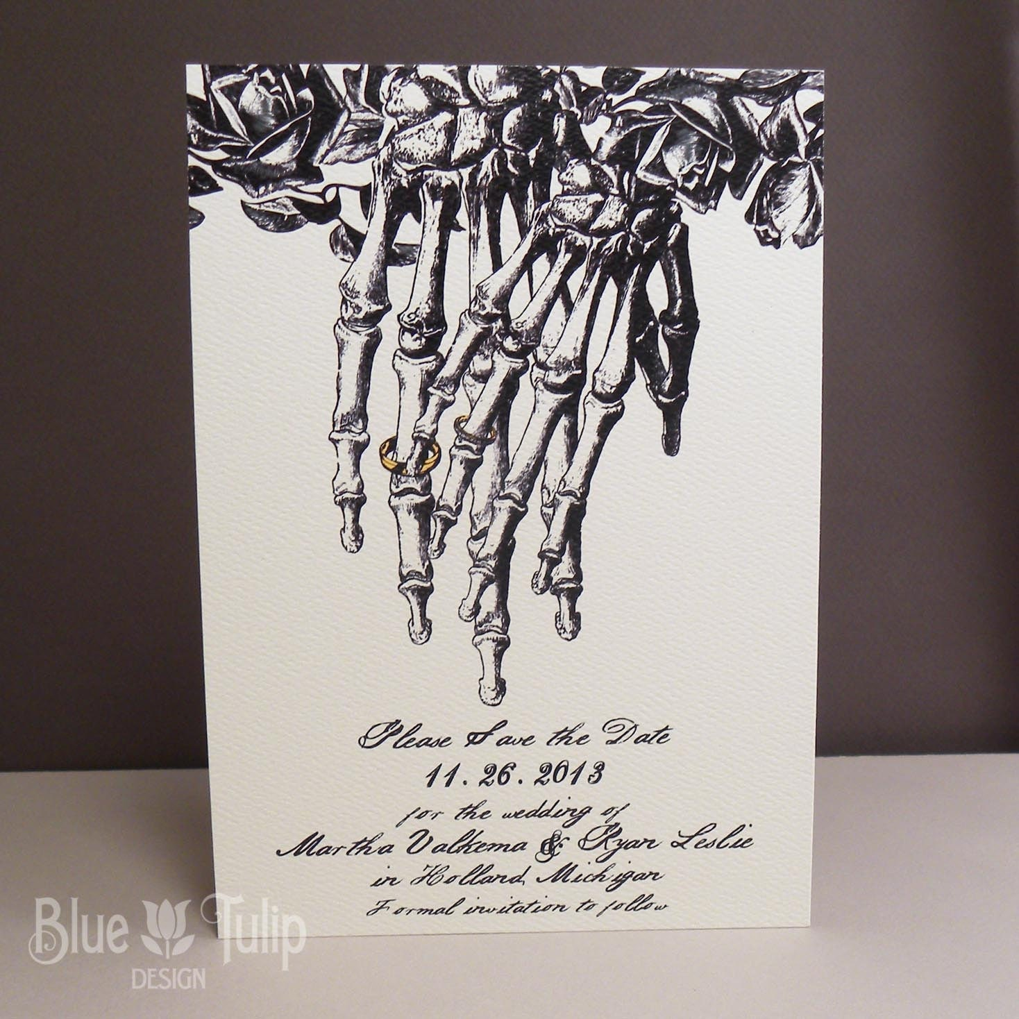 Engraved Skeleton Hand with Wedding Rings and Roses Save the