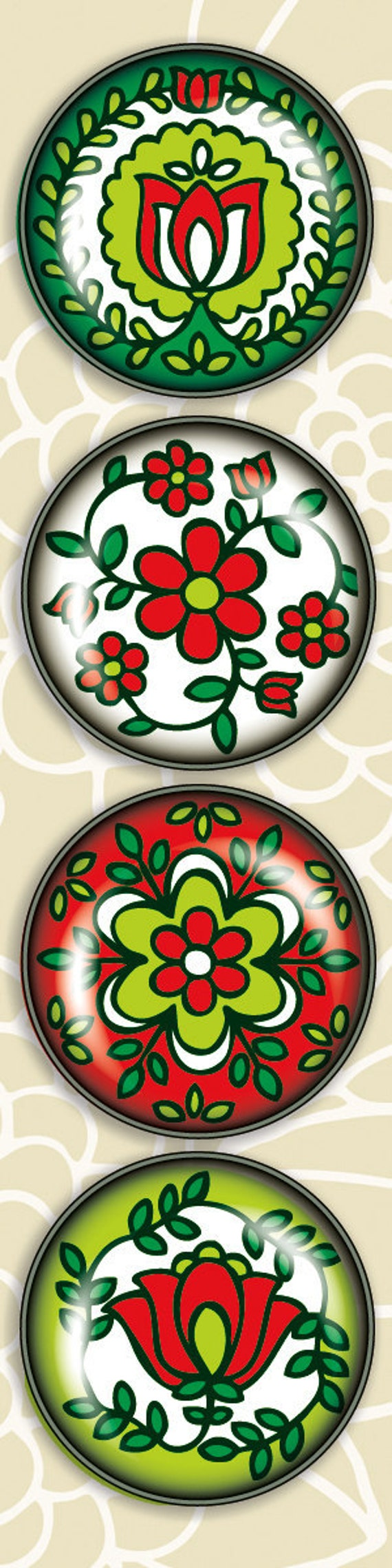 4 Pack of Amazingly Strong Magnets with Hungarian Holiday Design