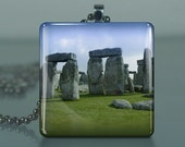 Stonehenge / Large Glass Tile Necklace Pendant / Buy 2 Get 3rd Free / Includes Chain / Free Shipping / 337