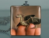 Baby Dragon / Large Glass Tile Necklace Pendant / Buy 2 Get 1 Free / Includes Chain / Free Shipping  254