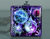 Funky Christmas Ornaments - C71 / Large Glass Tile Necklace Pendant / Buy 2 Get 3rd Free / Includes Chain / Free Shipping