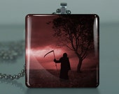 The Grim Reaper - 351 / Large Glass Tile Necklace Pendant / Buy 2 Get 3rd Free / Includes Chain / Free Shipping .