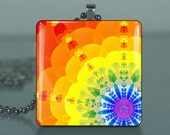 Buddha Chakra - 222 / Large Glass Tile Necklace Pendant / Buy 2 Get 3rd Free / Includes Chain / Free Shipping