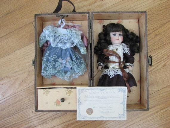 Trudy Traveler Collectible Porcelain Doll - Complete with Certificate of Authenticity and Wardrobe