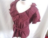 Stripey maroon refashioned womens top with a fun collar size medium-