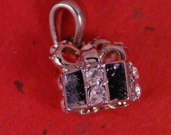Small Silver-tone Rhinestone Accented Gift with Ribbon Pendant
