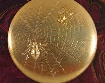 Large Round Domed Brass Stamping of the Spider and the Fly Theme