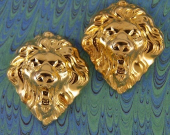 Pair of Brass Lion Head Stampings Fabulous