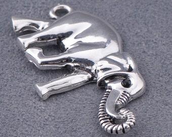 Silver-tone Metal Elephant Charm Connectors