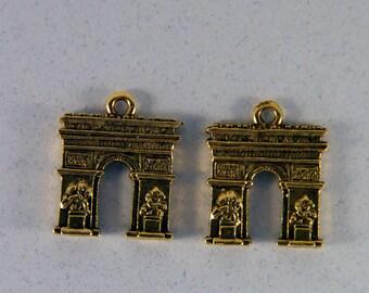 Pair of Gold-tone Pewter Arc de Triumph Charms