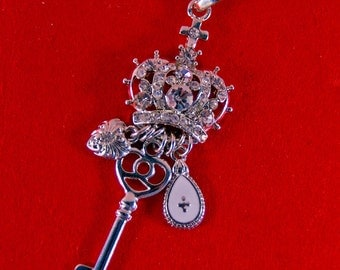 Silver-tone Crown Rhinestone Encrusted Pendant with Charm Links