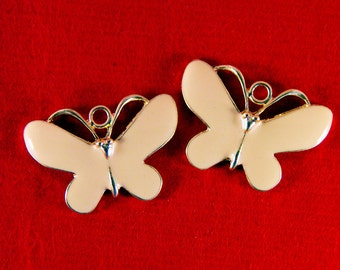 Pair of Gold-tone Pale Peach Epoxy Butterfly Charms