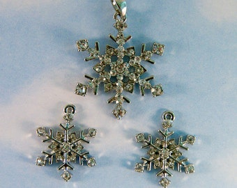 Silver-tone Snowflake Charms and Pendant with Rhinestones Set