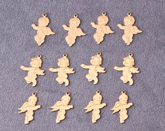12 Brass Cherub Charms in 3 Different Poses