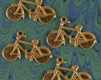Set of 4 Brass Bicycle Charms