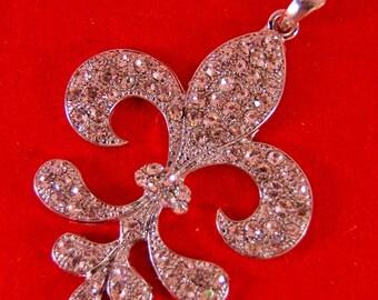 Feathery Shaped Fleur de Lis Pendant Encrusted with Rhinestones Silver-tone