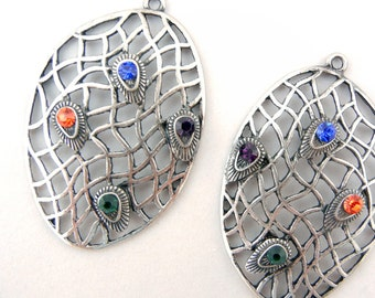 Drop Charms Antique Silver-tone Abstract Oval Net Multicolored Rhinestones on Peacock Teardrop