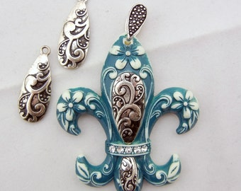 Set of Fleur de Lis Blue Acrylic and Antique Silver-tone Metal Rhinestones Pendant and Charms